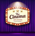 cinema theater hexagon sign purple curtain vector image vector image