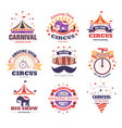 circus and carnival show and party isolated icons vector image