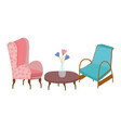 classic chairs table and flowers icon vector image