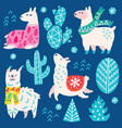 collection christmas llamas decorative vector image