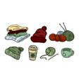cozy hygge sticker doodles cute stickers plaids vector image vector image