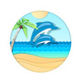 dolphin jumping out water on beach vector image