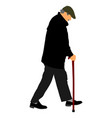 elderly senior man walking with stick isolated vector image vector image