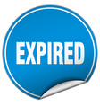 Expired round blue sticker isolated on white
