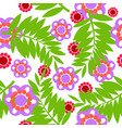 fern and flower pattern vector image vector image