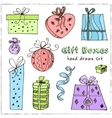 gift boxes doodle vintage vector image