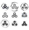 Hand spinner fidget toy icon set