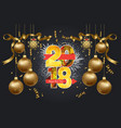 happy new year 2018 background with confetti gold vector image