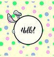 hello rabbit round frame vector image