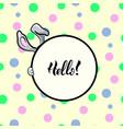 hello rabbit round frame vector image vector image