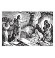 jesus resurrects lazarus of bethany vintage vector image vector image