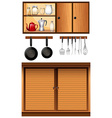 Kitchen appliances and cabinets vector image