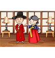 Korean style characters in house vector image