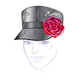 leather cap with rose vector image