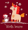 magic unicorn in winter for your design vector image vector image