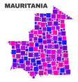 mosaic mauritania map of square elements vector image vector image