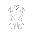 One line cute giraffe couple in love vector image