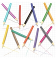 Painting pencils on the exercise book page vector image vector image