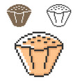 pixel icon cupcake in three variants fully vector image