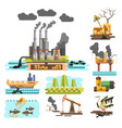pollution ecological problem plants and factories vector image vector image