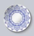 porcelain plate with a blue floral design vector image vector image