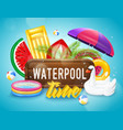 realistic inflatable pool horizontal poster vector image