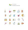 set line icons cognac vector image