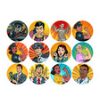 set pop art round icons characters avatar vector image vector image