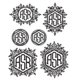 set retro patterns monograms with Floral vector image vector image