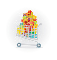 shopping trolley full of gifts vector image