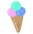 sweet ice cream on white background vector image vector image