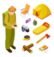 tourist and camping equipment isometric vector image