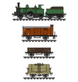 vintage freight steam train vector image vector image