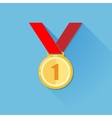 vintage of a golden medal in flat style with long vector image vector image