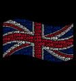 waving british flag collage of job texts vector image