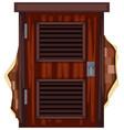 wooden door on the brick wall vector image vector image