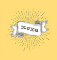 xoxo xoxo text on vintage hand drawn ribbon vector image vector image