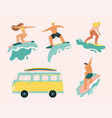 young people riding on surfboards set vintage vector image vector image