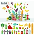 Basket with Vegetables Banner and Icon Set vector image