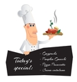 Cartoon character with a dish and menu vector image