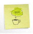 word in speech baloon on yellow sticky paper note vector image