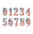 3d numbers with american flag texture isolated on vector image vector image