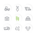 agriculture farming line icons set vector image