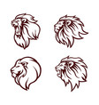 angry lion head logo set icon sign flat design vector image vector image