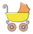 baby carriage vintage icon cartoon style vector image vector image
