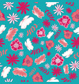 blue tossed floral and leaves mix seamless pattern vector image