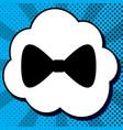 bow tie icon black icon in bubble on blue vector image