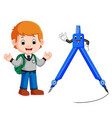 boy with architecture compass character vector image vector image
