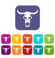 buffalo skull icons set flat vector image vector image