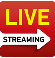 button live streaming - red design emblem with vector image vector image